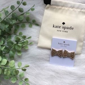 Kate Spade Gold Sparkling Bow Stud Earrings